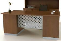 Modern Executive Desk Private Office Furniture Designer Wood With Metal Set New