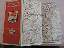 Rare 1952 Esso Mobil Road Map Westchester Putnam County New York City Nyc Socony