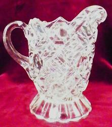 Richmond Creamer Early American Pattern Glass Nickel Plate Co Double Bar And Block