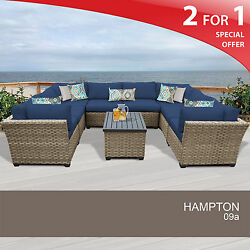 Hampton 9 Piece Outdoor Wicker Patio Furniture Set 09a 2 for 1