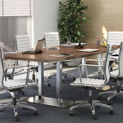 8' - 20' Modern Conference Room Meeting Table With Metal Base 10 12 14 16 18 Ft
