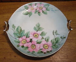 Vintage 1932 Hutschenreuther Selb Bavaria Hand Painted Floral Two Handle Plate