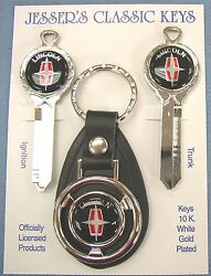 Nos Black Lincoln Star White Gold Deluxe Classic 3 Piece Key Set 1966 - 1984