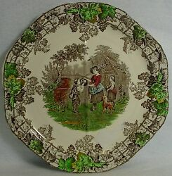 Spode China Byron Brown Multicolor Octagonal Cake Or Sandwich Plate Green 9-1/2