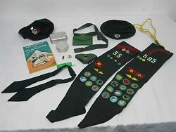 2 Vtg Girl Scout Sash W Patches, Pins, Beret, Cup, Sewing Kit, Wallet Belt More