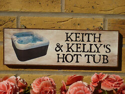 Personalised Garden Signs Hot Tub Welcome Funny Birthday Gift Wooden Sign Names