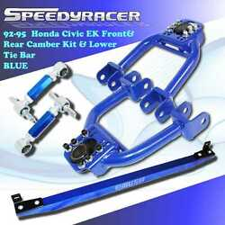 For 92-95 Honda Civic Adj Front Control Arm/ Rear Camber/ Lower Tie Bar Blue