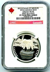 2016 10 Canada Silver Proof Ngc Pf70 Ucam Grizzly Bear First Releases