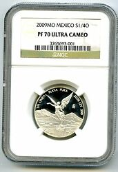 2009 Mexico 1/4oz Onza Silver Proof Libertad Ngc Pf70 Ucam Extremely Rare Pop=3