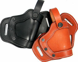 LEATHER 2-WAY MIDDLE SMALL OF BACK SOB OWB BELT HOLSTER - CHOOSE GUN