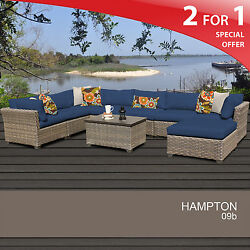 Hampton 9 Piece Outdoor Wicker Patio Furniture Set 09b 2 for 1
