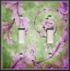 Metal Light Switch Plate Cover - Vintage Floral Leaves - Purple Green Boho Decor