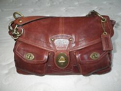 COACH LEGACY LEIGH RED TONE WHISKEY POCKET LEATHER TOTE BAG PURSE SATCHEL EUC