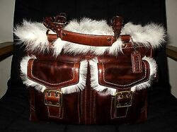 NEW COACH LTD ED SHEARLING FUR DOUBLE POCKET BRAIDED GALLERY TOTE BAG PURSE WOW!