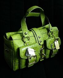 NWT COACH Ltd PEAR GREEN GENUINE OSTRICH LEATHER LEGACY TOTE BAG SATCHEL PURSE