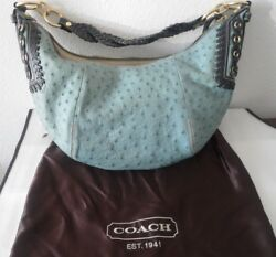NWT COACH Rare Exotic Blue Ostrich Hobo Handbag Purse Style No. 10430 $3300.00