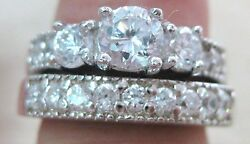 925 Sterling Silver Antique Vintage Trilogy Cz Engagement And Wedding 2 Rings =set