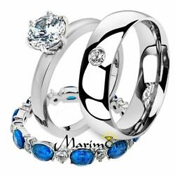 His And Her 3 Pc Stainless Steel 2.25 Ct Cz Bridal Set And Men Zirconia Wedding Band