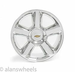 4 New Chevy Suburban Tahoe Ltz Chrome 20 Wheels Rims Gold Bowtie Free Ship 5308