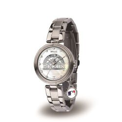 Colorado Mlb Baseball Rockies Charm Watch With Stainless Steel Band