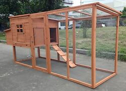 Large 8' Wood Chicken Coop Backyard Hen House 3-5 Chickens nesting box