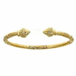 10k Yellow Gold West Indian Bangle W. Torch Ends