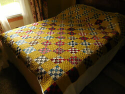 Antique 1800s Patchwork Quilt Hand Sewn 67x81 Postage Stamp 16 Patch Unused