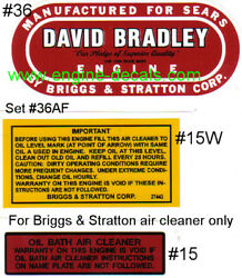 David Bradley Engine Decal Sears Bands Air Filter Set Of 2-36 And 1-15