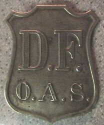 Vintage Antique Hat Badge D.f. O.a.s. Fire Police Law Shield