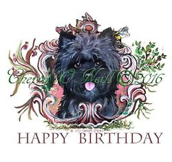 Cairn Terrier Birthday Celebration Pillow  Collectible Home Decorative Art