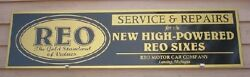 C.1920and039s Style Early Reo Classic Auto Metal Dealer/service Sign/a 1x46and039 Aluminum