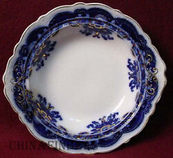 Johnson Brothers China Oregon Flow Blue Gold Accent Pattern Round Butter Base