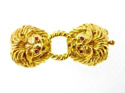 Necklace Clasp Finding 14k Yellow Gold Two Lion Heads With Ruby Eyes 5 Strand
