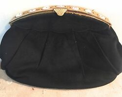 Vintage Scherick Paris Black Velvet Brass and Shell Medallions Evening Bag