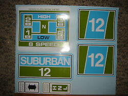Sears Suburban Decals Set Sub12 12-hp In Green And Blue 60's And 70's Blue/white