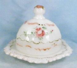 Antique Versailles Milk Glass Butter Dish Enamel Roses Dithridge Early American