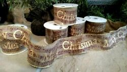 Set 2 Nwt 2.5 X 30and039 Rustic Music Wire Edge Printed Polyester Christmas Ribbon
