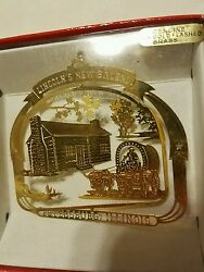 Lincolnand039s New Salem Petersburg Illinois Brass Christmas Ornament