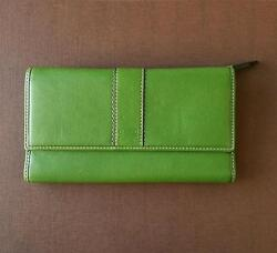 COACH HAMPTONS GREEN TRIFOLD LG CHECKBOOK LEATHER CLUTCH PURSE BAG WALLET RARE!