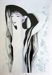 Eyvind Earle Signed 1981 Original Color Lithograph - Girl With Raven Hair