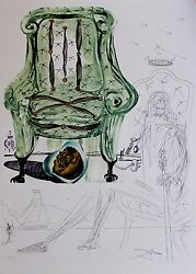 Dali Original Lithograph Hand Signed Numbered Imaginations Armchair 1975