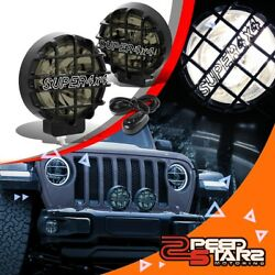 6round Smoked Lens Black Cover Bumper Bull Bar Grill Fog Light Lamps+switch 4x4