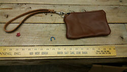 hand made Leather Zippy Wallet w Pouch Wristlet I 101 $17.99