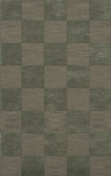 Green Transitional Hand Hooked Checkered Squares Grid Area Rug Checked Dv15