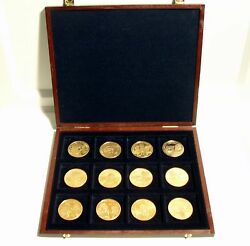 Sir Rowland Hill Dutch Mint 12 Unc Gold Plated Medals In Wooden Case Famous...
