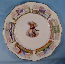 Woman In Bonnet With Flowers 1910 Calendar Plate Steubenville China O2 As Is