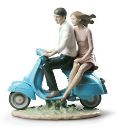 Lladro 9231 Riding With You Brand New In Box Couple On Moped Love Large Save