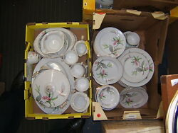 Jyoto China Sevice For 12 W/ Serving Pieces 77 Pieces White W Pink Flowers Jyo47