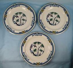 3 Kenya Blue Salad Plates Wood And Sons Woods Ware Hand Painted Palm Trees O4