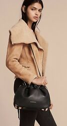 NEW BURBERRY GRAINY LEATHER AND HOUSE CHECK CROSSBODY BAG BLACK 2017 COLLECTION